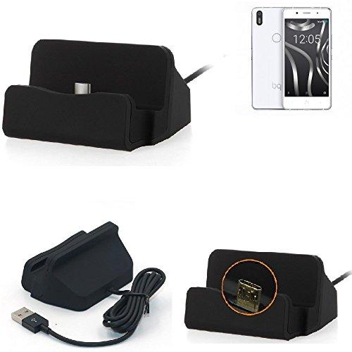 K-S-Trade Dockingstation Für BQ Aquaris X5 Plus Docking Station Micro USB Tisch Lade Dock Ladegerät Charger Inkl. Kabel Zum Laden Und Synchronisieren, Schwarz