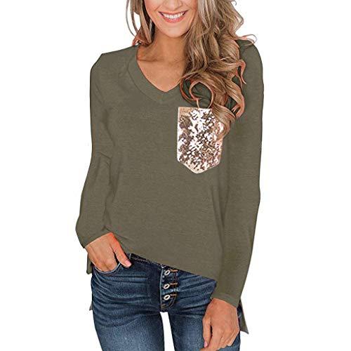 Frauen Winter Sweatshirt,Evansamp Leopard-Taschen-Oberseiten-Kurze/Lange Hülsen Der Dame V Ansatz-T-Shirt Beiläufige Grundlegende T-Stücke(Army Green1,XL)