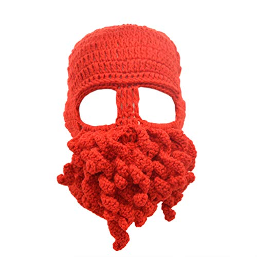 Stylish Unisex Knit Octopus Beanie Windproof Ski Mask Hat Cap Keep Face Warm Red