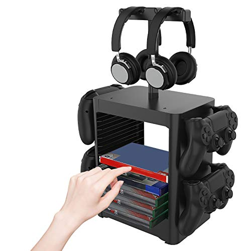 ZPL Caja De Disco Estante Multifunción Retirable Vertical Estar Discos Compactos Juego Disco Estante Aplicar para PS5 PS4 Serie Xbox