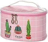 Pingjie Neceser Cactus PU del bolso de la colada del viaje del equipaje de la bolsa bolsa de maquillaje cosmético del organizador del bolso for las mujeres, señoras y femeninos 21 * 12.3 * 16cm Caja d
