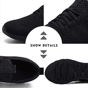 Damyuan Women's Athletic Running Shoes Walking Shoes Lightweight Gym Mesh Comfortable Trail Running Shoes Black,8