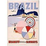 ZFLSGWZ Vintage Travel Retro Brasil Poster Arte De La Pared Cuadros En Lienzo Pinturas En Lienzo Impresión En Lienzo para La Decoración De La Sala De Estar -60X80Cm Sin Marco