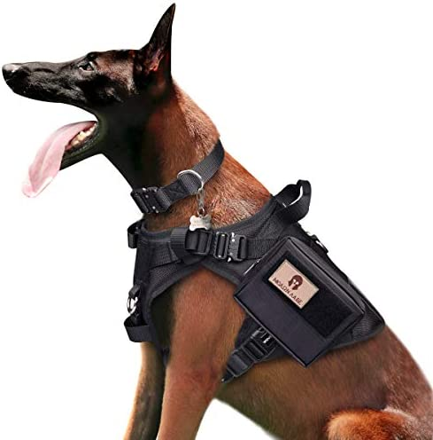 WINSEE Tactical Dog Harness and Collar with Backpack Saddle Bag Rucksack with 3X Metal Buckle product image