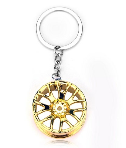 Familienkalender Chrom Tuner Alu Felgen Schlüsselanhänger in goldfarben glänzend