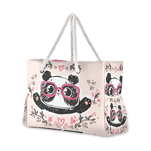 Mnsruu Bolsa de playa grande, Panda con gafas, bolsa de playa de hombro, asas de cuerda de algodón, bolsa de viaje para mujer