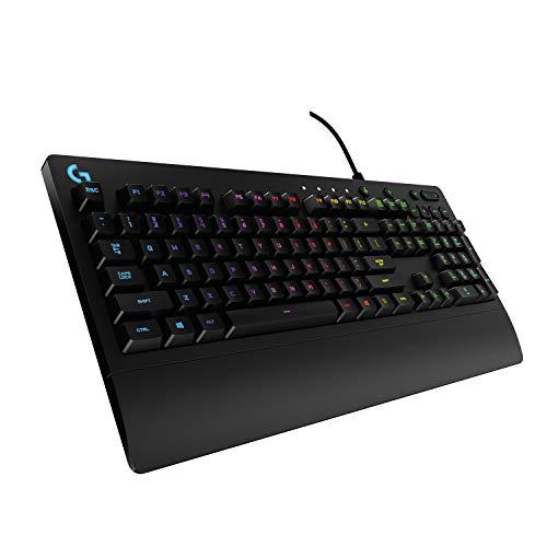 Logitech G213 Prodigy Gaming-Tastatur, RGB-Beleuchtung, Programmierbare G-Tasten, Multi-Media Bedienelemente, Integrierte Handballenauflage, Spritzwassergeschützt, Deutsches QWERTZ-Layout, Schwarz