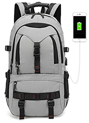 Anti Theft Business Laptop Backpack with USB Charging Port?Mobile charge?Fits 17 inch Laptop,Travel College and School Computer Bag for men&Women Digital password lock Multiple pockets(light grey) from DIHONG