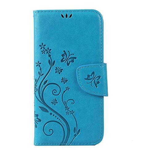 WindTeco Aquaris X5 Hülle, Retro Geprägt Schmetterling, Blume Muster Folio PU Leder Flip Hülle Handyhülle Brieftasche Schutzhülle mit Stand Funktion & Kartenfächer für BQ Aquaris X5, Blau