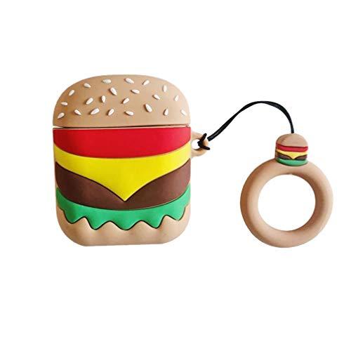 PRETYZOOM Étui pour Écouteurs sans Fil Forme Hamburger Étui pour Écouteurs Porte-Clés Boîte de Transport Étui de Protection Compatible pour Airpods 1/2