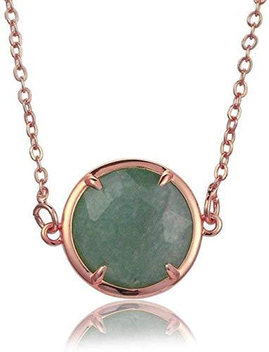 huangshuhua Collares Pendientes de Piedra para Mujer Collar Colgante Verde Redondo facetado de Piedra Natural con Borde de Oro Rosa con Cadena de Oro Rosa Regalo de joyería