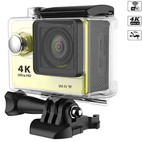 ZHENAI Ultra 4K/30Fps 20MP Action Cam WiFi Action Kamera, 30M Unterwasserkamera, 170°Weitwinkel, Mit Actionkamera Wasserdichtes Gehäuse, Zubehör,Gelb