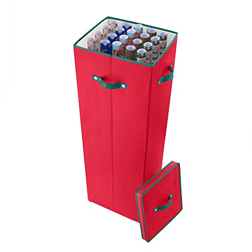 """Elf Stor (Red) Paper Storage Box-Holds 20 Rolls of 40"""" Gift Upright Container, Lid, Dividers & Handles-For Holiday & Christmas Wrap"""