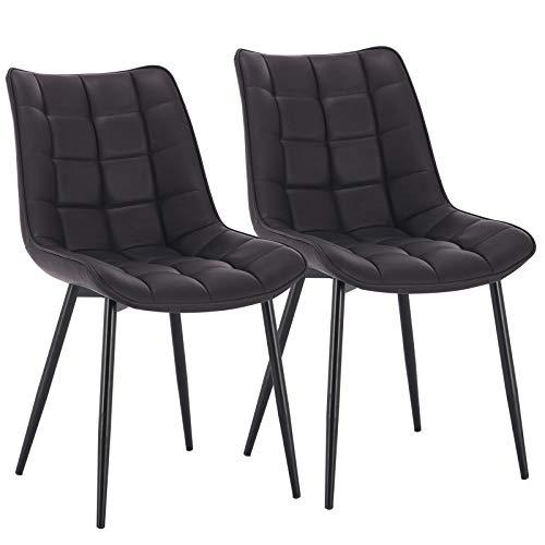 WOLTU® Esszimmerstühle BH207an-2 2er Set Küchenstuhl Polsterstuhl Wohnzimmerstuhl Sessel mit Rückenlehne, Sitzfläche aus Kunstleder, Metallbeine, Antiklederoptik, Anthrazit