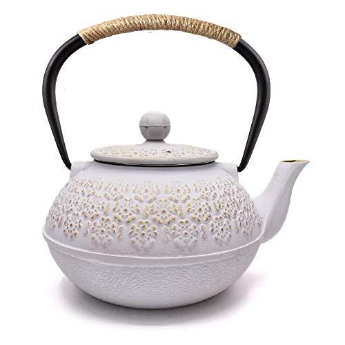 Webao Teekessel aus Gusseisen, japanischer Tetsubin-Teekessel mit Teesieb, 800 ml, Weiß