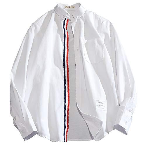 Camisa con Cuello Vuelto para Hombre, Moda a Rayas, Manga Larga, Ajuste Holgado, cómoda Camisa Informal, Camisetas de Calidad para Primavera y otoño 3X-Large