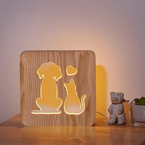 CooPark LED Hund und Katze Holz Nachtlicht, Home Decor Neben Tisch Kinderzimmer Lampe, Geburtstag Weihnachten Party Haustier Liebe Nachtlampe