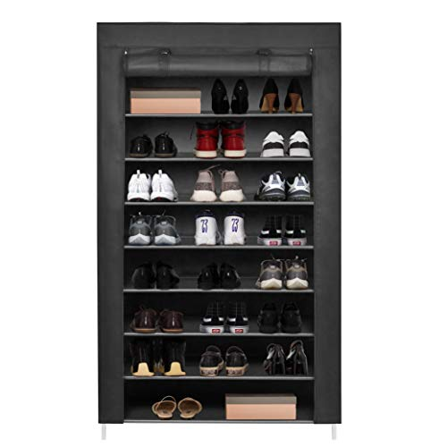 Meerveil Shoe Rack Canvas Shoe Storage Shelf Shoe Cabinet Standing Shoe Storage Shoe Organiser for 45 Pairs Shoes with Dustproof Cover Black 88 x 28 x 160cm