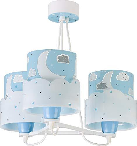 Dalber Moon Lámpara Infantil de Techo 3 Luces Luna y Estrellas, 60 W, Azul