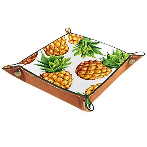 ZDL Caja de almacenamiento con diseño de frutas tropicales grandes para llaves, teléfono, moneda, cartera, relojes, etc. 40 x 40 cm