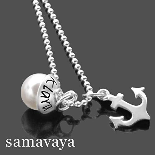 Taufkette Mädchen mit Gravur LYHO ANKER TAUFE 925 Silberkette Taufgeschenk