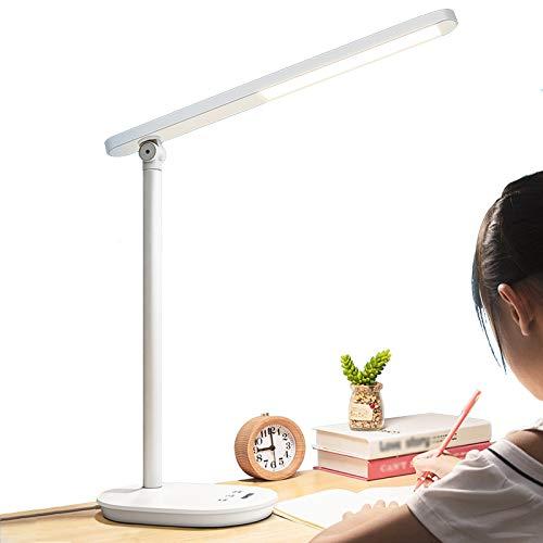 Lámpara de escritorio LED ajustable, lámpara de mesa con 6 niveles de brillo y 3 modos de iluminación, control táctil de 12 W, función de memoria, luz de escritorio regulable para el cuidado de los