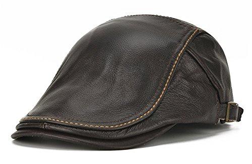 Roffatide Hombres Boina de Cuero Gorra Plana Sombrero Cuero Sombrero Plano Ajustable