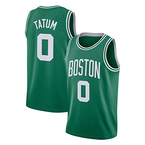 Celtics Tatum #0 Basketball Jersey, Men's Sports Basketball Shirt Mesh Breathable Quick-Drying Basketball Uniform Fans Commemorative Basketball Vest Green-L