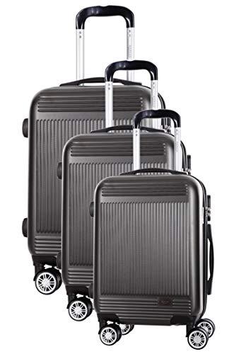 Morgan Granade - Maleta de viaje rígida ABS con 8 ruedas giratorias, juego de 3 maletas (55 cm, 39 litros, 65 cm, 62 litros, 75 cm, 99 litros), color gris