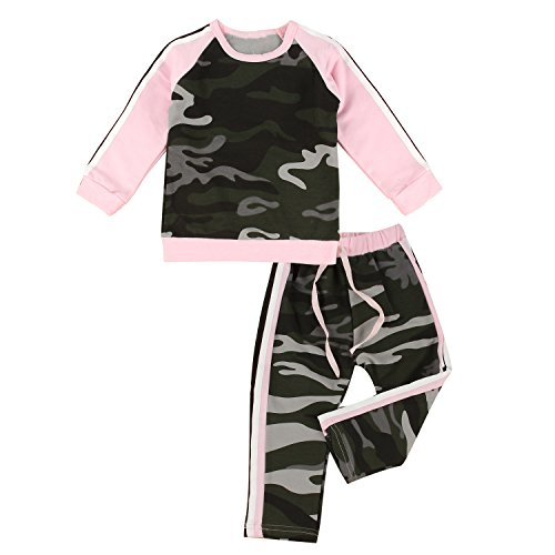 puseky Toddler Baby Girls Camouflage Long Sleeve Shirt & Pants Tracksuit Outfits (1T-2T, Camouflage+Pink)