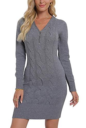 Vthereal Vestido de punto elástico para mujer, vestido de punto sexy, con cremallera, vestido de invierno, gris, XL