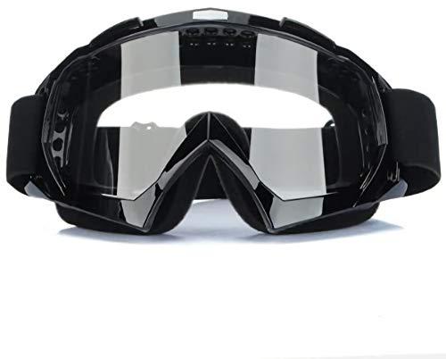DMZK Lunettes Clair Moto Cross Goggle, Cross Goggle Anti-UV Brouillard Noir CE