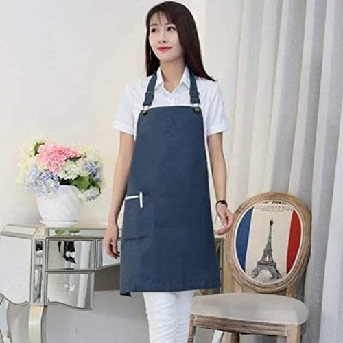 Seba5 Home Mode Baumwolle wasserdichte Schürze Milk Tea Coffee Shop Nail Work Schürze (Farbe  blau)