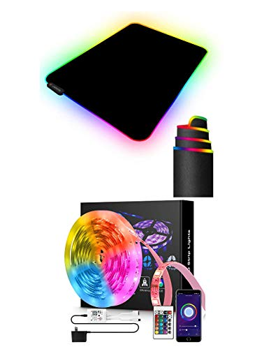 DOGAIN RGB Gaming Mouse Pad with 11 RGB Light up Modes and DOGAIN LED Strip Lights 16.4FT Compatible with Alexa Google...