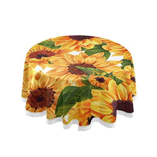 SUABO Table Cloth Watercolor Sunflower Floral Round Table Cover Washable Polyester Tablecloth for Parties Holiday Dinner Restaurant 60 Inch