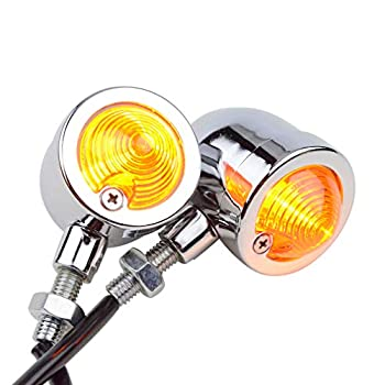 GOOFIT Vintage Refit Headlight Chrome/Amber Bullet Turn Signal Light Lamp Replacement for Bobber Scooter