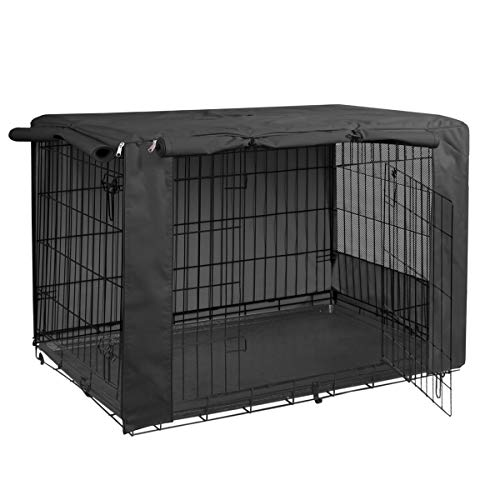 HiCaptain Folding Metal Dog Crate for Cover 42 Inch Wire Pet Cage (Black)