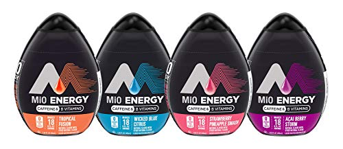 Mio Energy Water Enhancement - Variety (Pack of 4) Strawberry Pineapple Smash, Tropical Fusion, Acai Berry Storm and Wicked Blue Citrus