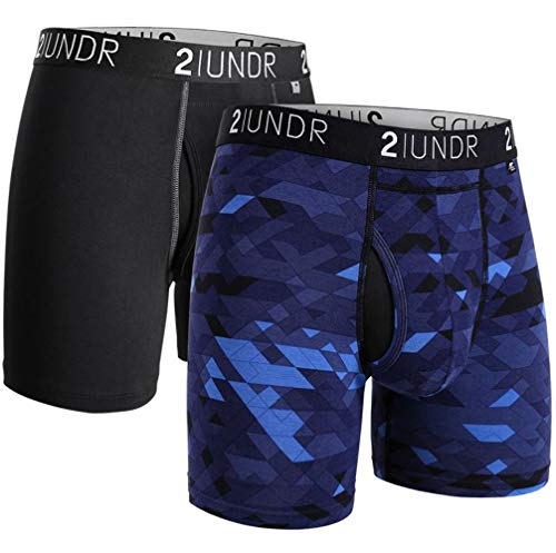 """2UNDR Swing Shift 6"""" Boxer Brief 2-Pack (Black/Geode, X-Large)"""