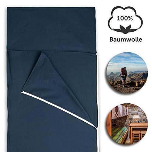 Hüttenschlafsack aus Baumwolle | Ultraleichter Baumwollschlafsack für Hostel oder Berghütte, auch als Inlett/Inlay | Reiseschlafsack (Blau)