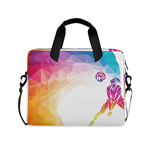 FELIZM Laptop-Hülle mit abstraktem Volleyball-Sportspieler, Laptop-Tasche mit Schultergurt, Notebook-Computertasche für Männer, Frauen, Jungen, Mädchen, 38,1 - 40,6 cm