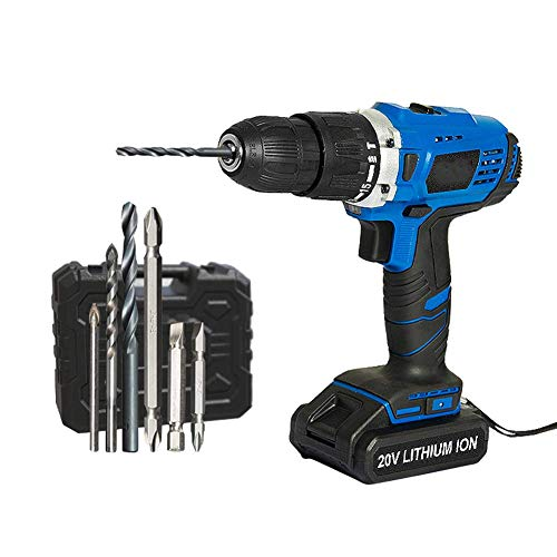 Professional 18V Cordless Drill,Electric Screwdriver,USB Output 13Pcs Drill Bit with Box LED Light 1500Mah Battery Mini Drill,Blue