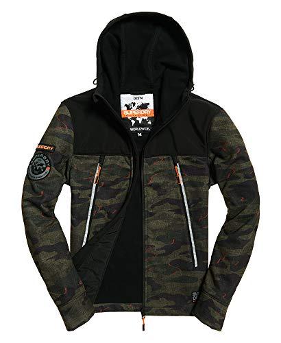 Superdry Herren Softshell Hybrid Jacke, Mehrfarbig (Khaki Misprint Camo O2F), Large (Herstellergröße: L)