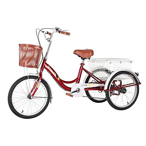 WGYDREAM Triciclo per Adulti Tricicli Adulti Tre Ruote Bike Cargo Cestino Tricicli per Adulti Trike Bici Bicicletta per Shopping Picnic Outdoor Sports Uomini Donne(Color:Rosso)