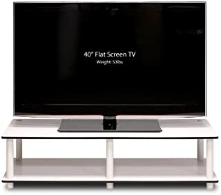 Furinno 11175WH(EX)/WH Just No Tools Wide TV Stand, White