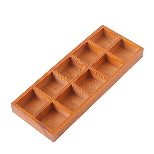 EXCEART Caja de Almacenamiento de 10 Compartimentos de Madera Organizador de Cajón de Cocina Rectangular Vintage Organizador de Armario Bandeja de Joyería Carrito de Escritorio para El