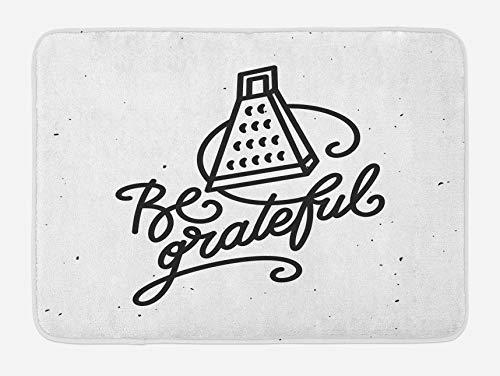 Be Grateful Alfombrilla de baño, divertido juego de palabras con diseño de electrodomésticos de cocina, rallador, garabatos, letras a mano, felpa para decoración de baño con respaldo antideslizante, b