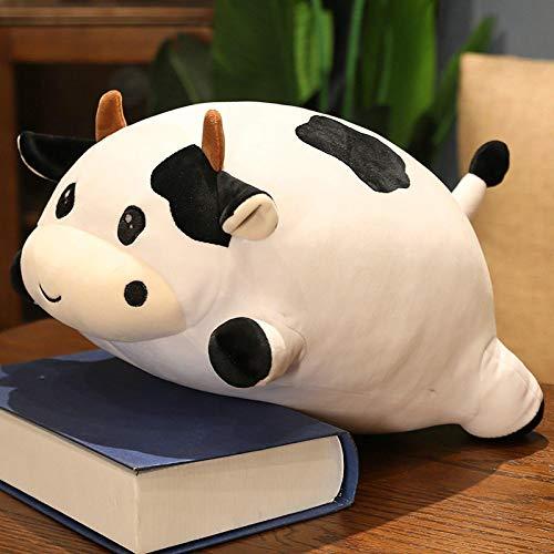 Felpa de Vaca rellena, Linda Almohada de Abrazo de Vaca Gorda, Regalos de Peluche para niños niñas, Regalo del día de los niños 35 cm Blanco