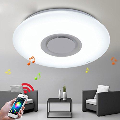 26W LED Plafoniera Integrato Bluetooth Musica Lampada da Soffitto Moderno Bianca Tondo Acrilico Illuminazione a Soffitto Per Camera da Letto Soggiorno Sala da Pranzo Ø40cm Dimmerazione 3000K-6000K