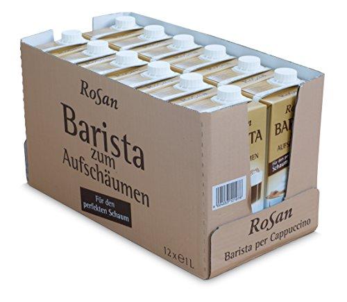 ROSAN | Barista Milch für den perfekten Milchschaum | inkl. kostenlosem Salzkammergut Kochbuch | 3 Monate ungekühlt haltbar, 12 x 1 L | Lebensmittel aus Österreich